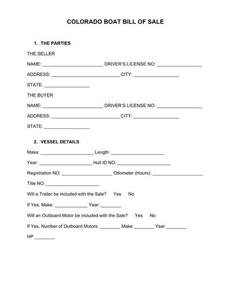 boat sale contract australia free colorado boat bill of sale form word pdf eforms