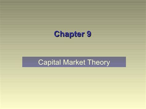 Capital Market Ppt For Mba by Ch09 Ppt