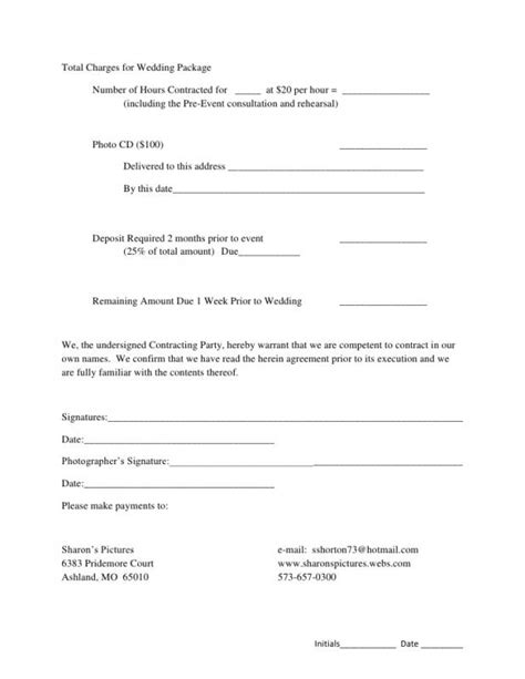 Venue Contract Template by Wedding Venue Contract Template Business
