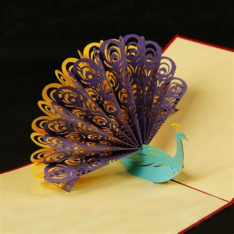 peacock pop up card template peacock 3d pop up greeting card creative birthdays and