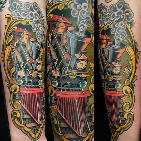 wild west tattoo black ink 3d engine on half sleeve