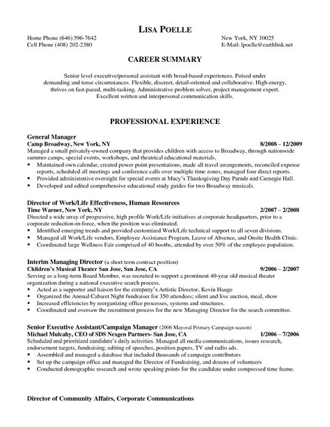Government Executive Resume Sle 10 Sle Administrative Assistant Resume 28 Images Personal Assistant Resume Dc Sales