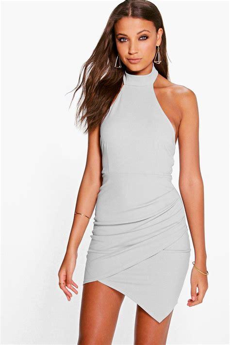 Halter Bodycon Dress high neck halter wrap skirt bodycon dress at boohoo