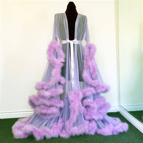 floor length robe with fur trim boudoir by d lish extravagant lilac marabou dressing