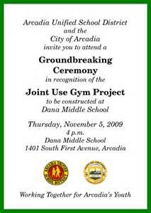 Groundbreaking Ceremony Invitation Templates exle of business groundbreaking invitations