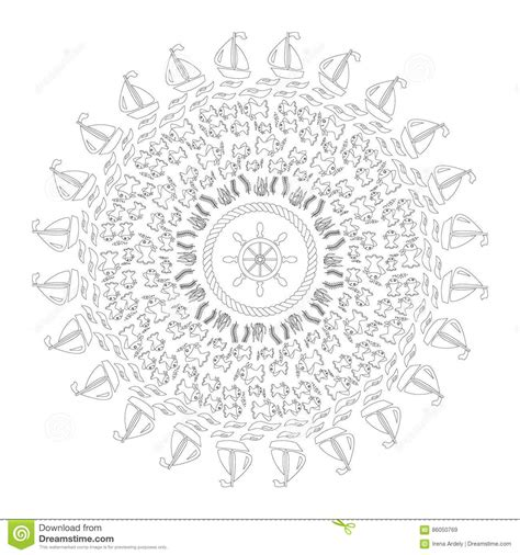 nautical mandala coloring pages nautical mandala with octopus tentacles and floral
