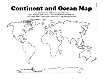 continent  ocean map worksheet blank  history hive tpt