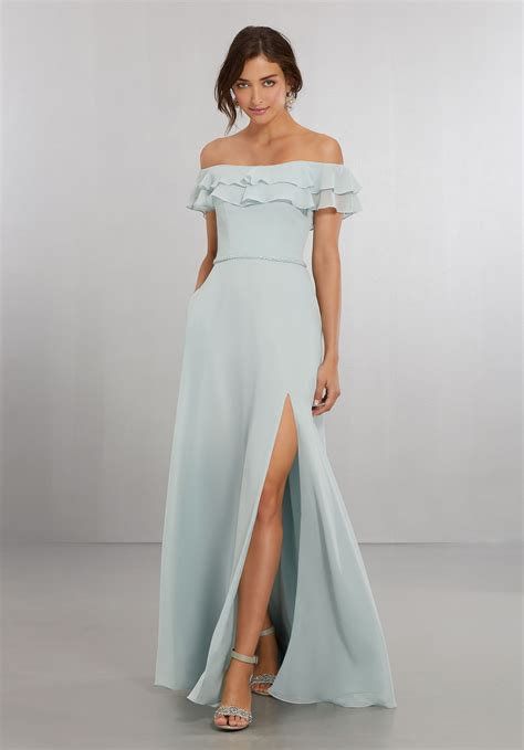 Shoulder Chiffon Dress chiffon bridesmaids dress with the shoulder flounced