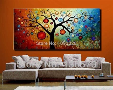 painted modern abstract money tree canvas wall