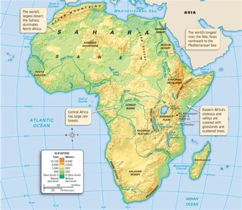 map of africa deserts physical map that shows the mountain ranges rainforest