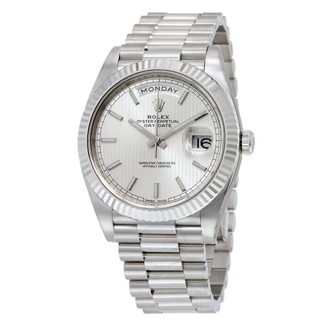 s day date rolex day date 40 silver 18k white gold president