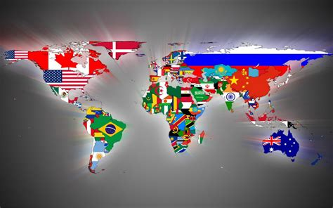 flags of the world countries world map flags