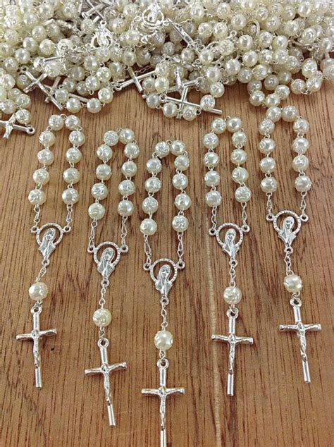 First Communion Giveaways - 25 pcs pearl decade rosaries mini rosaries first communion favors recuerditos