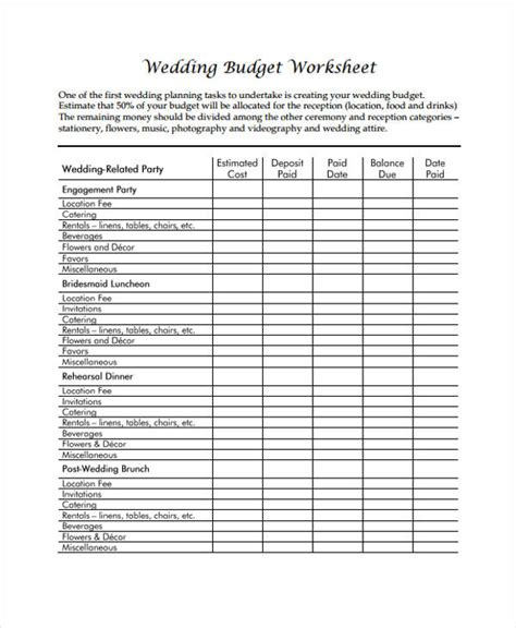 Wedding Budget Worksheet by Wedding Budget Worksheet Wedding Budget Worksheet