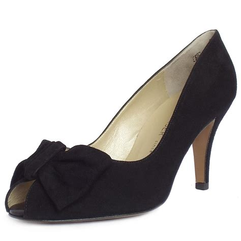 Peep Toe Shoes by Kaiser Samos Black Suede Peep Toe Evening Shoes