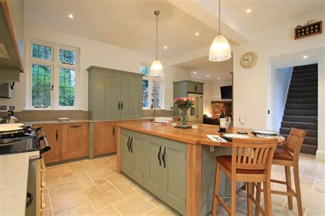 Hanging Pendant Lights Over Kitchen Island in frame oak amp painted shaker kitchen in farrow amp ball