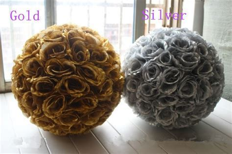 Gold Rose Ball Centerpieces Artificial Silk Flower Ball