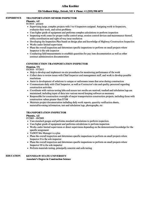 cover letter sle qc inspector transportation inspector sle resume 28 images quality