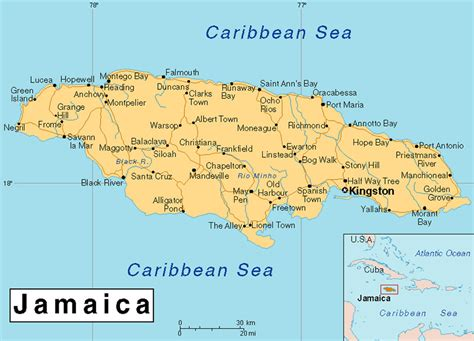 jamaica map with cities jamaica