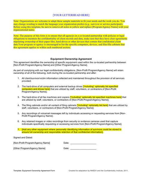Equipment Ownership Agreement Template In Word And Pdf Formats Cabinetry Contract Template