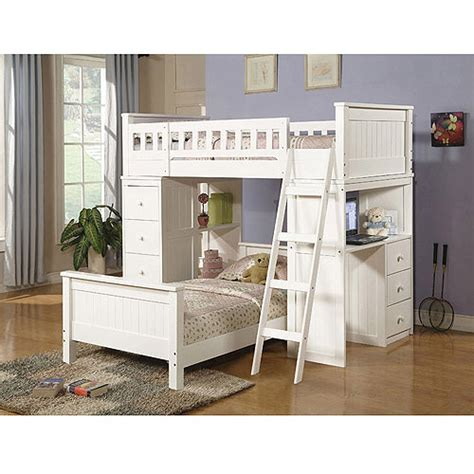 Bunk Beds With Storage And Desk Willoughby Loft Bed And Bed With Desk Storage White Walmart