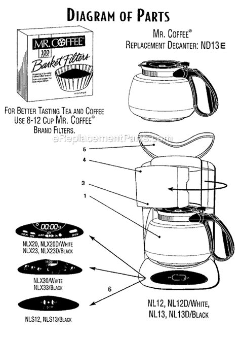 mr coffee parts diagram mr coffee nlx23 parts list and diagram