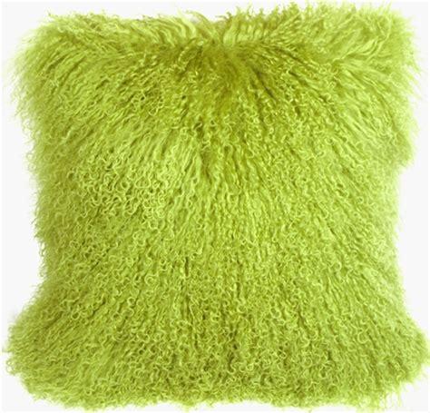 Mongolian sheepskin green throw pillow pillow decor
