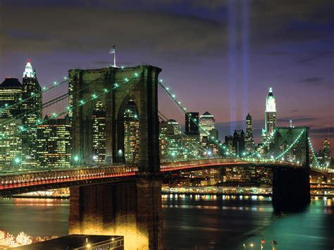 911 Lights Memorial by Brooklyn Bridge New York City World Travel Destinations