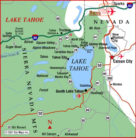 reno usa map map of reno tahoe area road map of lake tahoe and