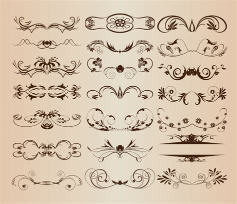 retro vintage design elements vector set vintage ornament decorative design elements vector set 1