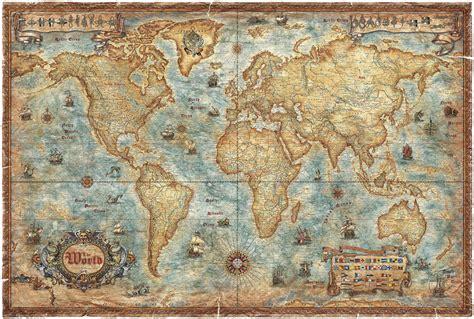 Antique Map Wall modern world antique map wall mural photo wallpaper