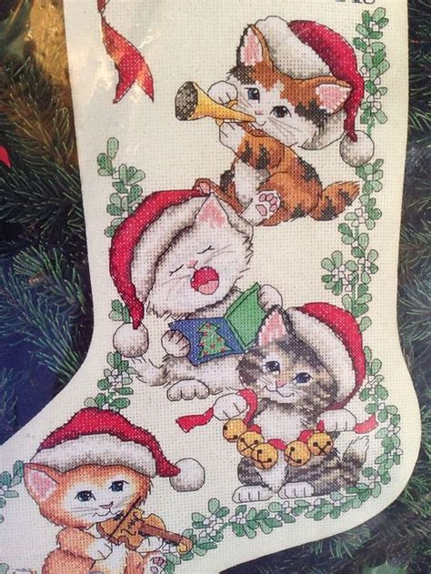 dimensions counted cross stitch merry kittens christmas cats stocking kit   cross stitch