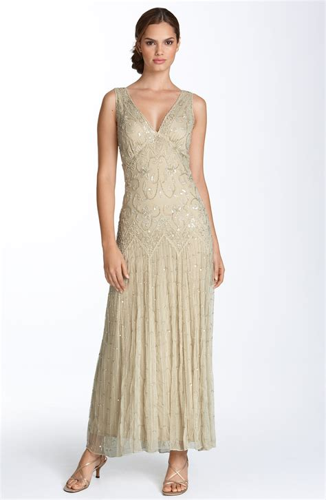 how to bead a gown pisarro nights beaded mesh gown in gold chagne lyst