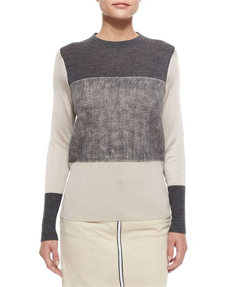 gray knit sweater lyst rag bone marissa colorblock knit sweater in gray