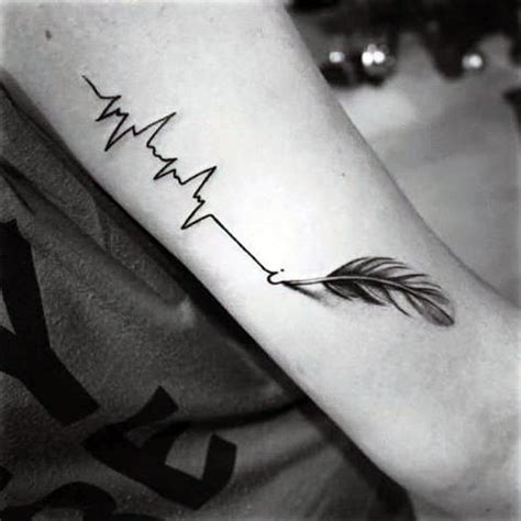 heartbeat rhythm tattoo 3d realistic feather drawing heart rhythm black ink tattoo