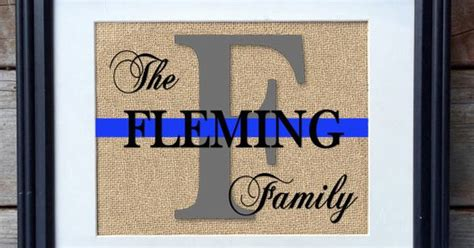 police officer home decor best police gift thin blue line family name burlap print