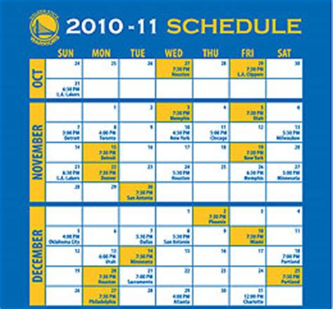 2010 2011 golden state warriors schedule is here golden
