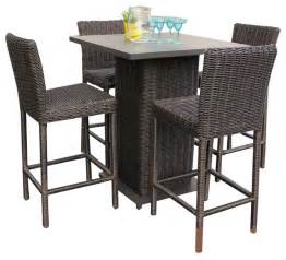 Patio Pub Tables Rustico Pub Table Set With Barstools 5 Outdoor Wicker Patio Furniture Tropical Outdoor