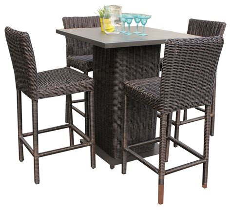 Patio Pub Tables Rustico Wicker Outdoor Pub Table With Bar Stools 5 Set Tropical Outdoor Pub And