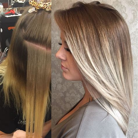 platinum blonde on the bottom and dark blonde om the top before after ash blonde light blonde dark roots