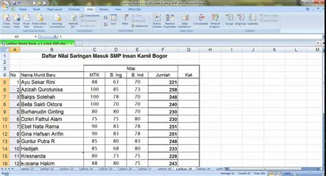 latihan membuat grafik di excel 2007 latihan menu data sort dan filter ms excel 2007
