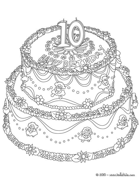 printable coloring pages 10 year olds birthday cake 10 years coloring pages hellokids com