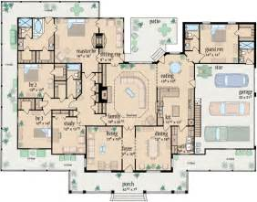 4 Bedroom 1 Story House Plans by Country Style House Plans 3388 Square Foot Home 1