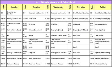 printable daily schedule for homeschool search results for sle weekly schedule calendar 2015