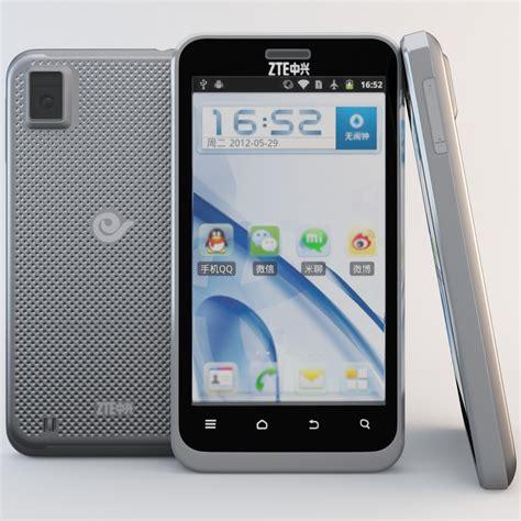 zte mobile phones models 3d model black zte n880e cell phone