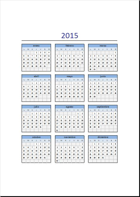 I Calendario 2015 Calendario 2015 En Excel Excel Total