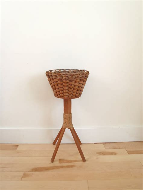 Wicker Planter Stand by Vintage Wicker And Wood Standing Planter By