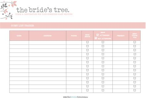 Guest List Tracker Printable Planning Tool   The Bride's Tree