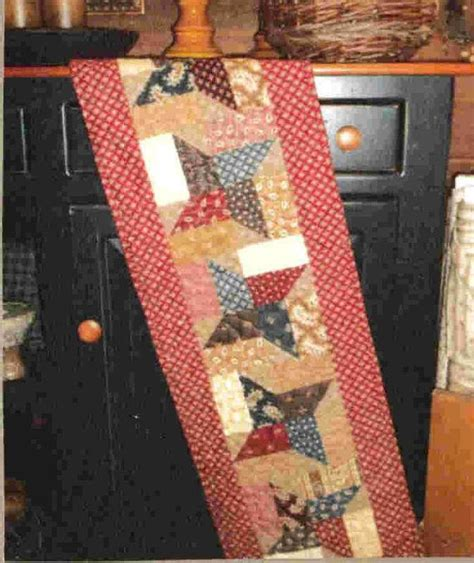 primitive quilt table runner pattern by by