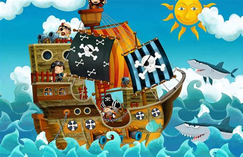 boat cartoon pirate cartoon pirate ship wall mural muralswallpaper co uk